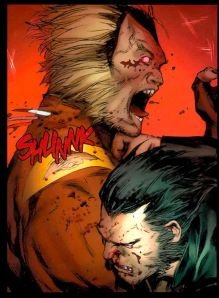 Sabretooth stabbed in the neck